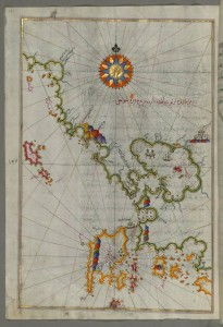 Piri_Reis_-_Map_of_the_Western_Coast_of_Greece_From_the_Island_of_Levcas_Going_North_as_Far_as_Paxi_Island_-_Walters_W658141A_-_Full_Page